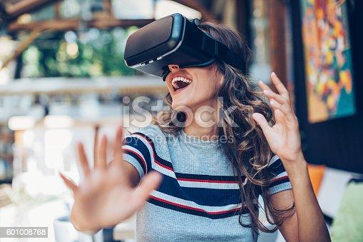istock Fun with virtual reality headset 601008768
