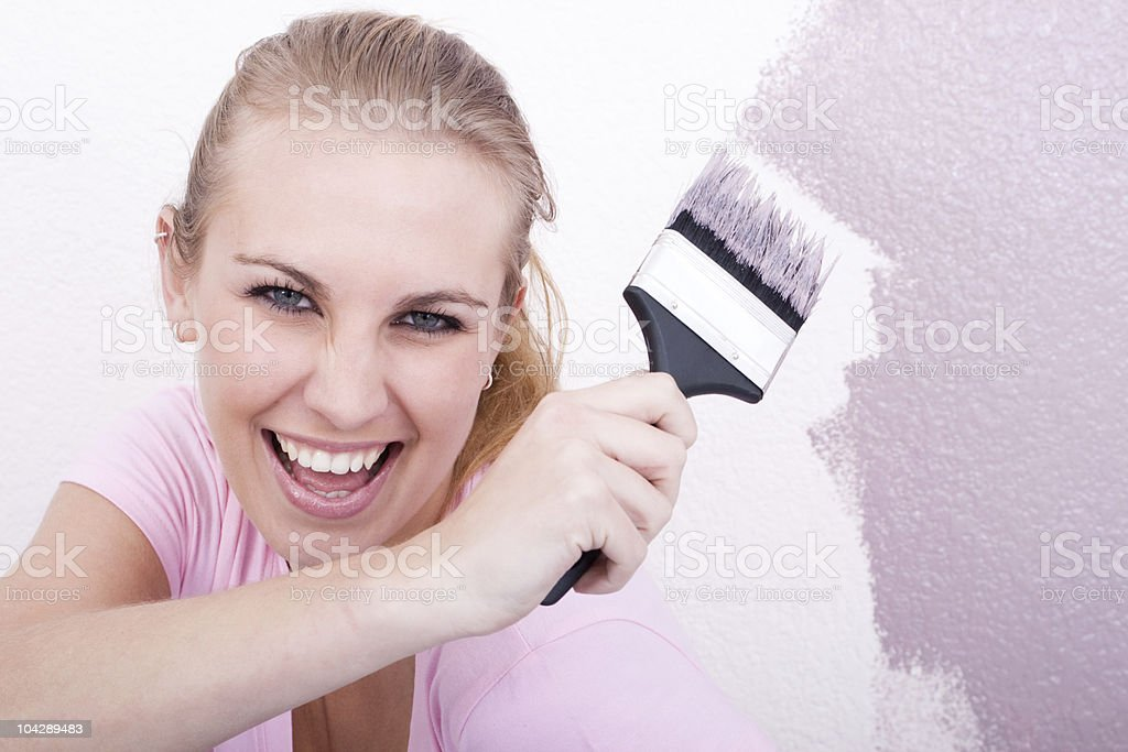fun woman painting home royalty-free stock photo