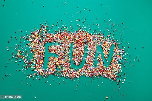 Fun word written on sprinkles