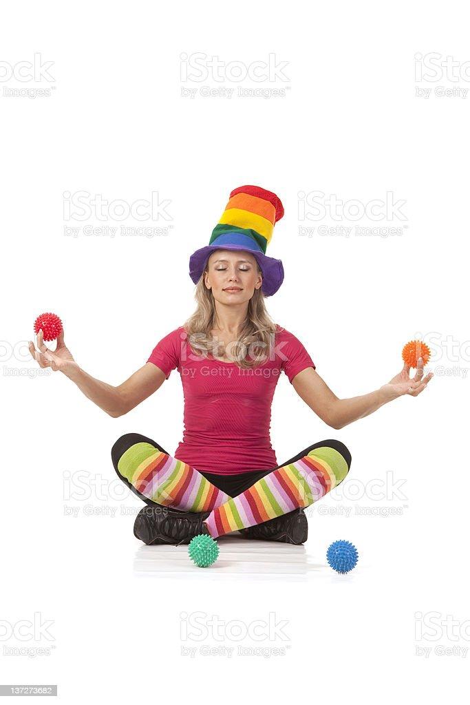 Fun yoga:  colorful lotus. royalty-free stock photo
