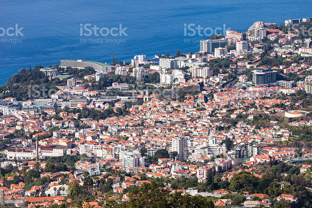 Funchal aerial view, Madeira stock photo