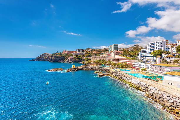 Funchal coastline and Hotel area stock photo