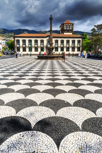 Funchal town square stock photo
