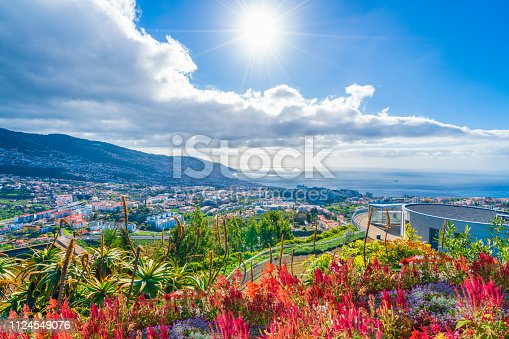 Panoramic view over Funchal, from Pico dos Barcelos viewpoint,in Madeira island, Portugal
