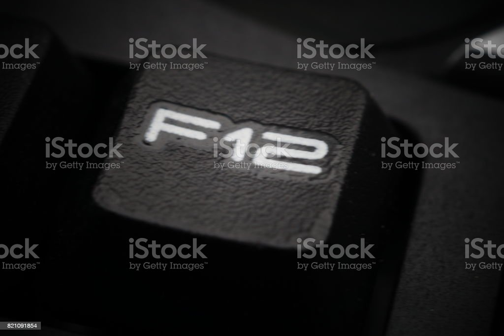 Function keys of black computer keyboard stock photo