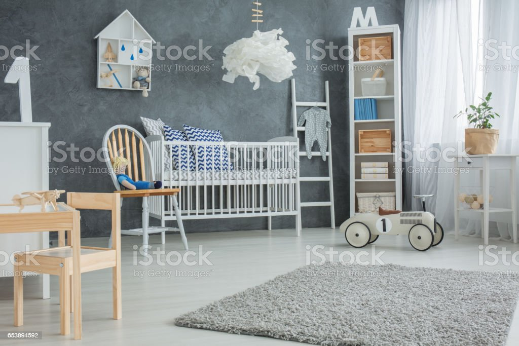 Functional baby bedroom stock photo