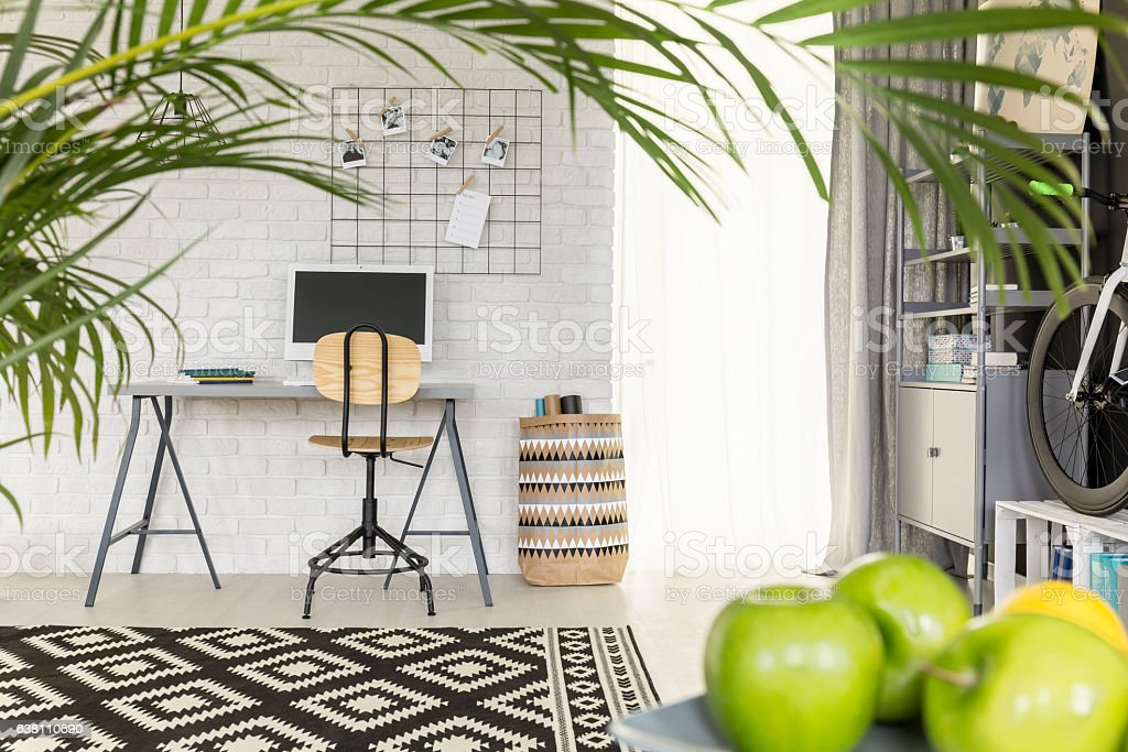 Functional flat with office area stock photo