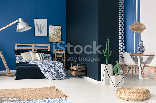 508860888 istock photo Functional soothing navy apartment 840802634