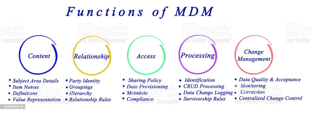 Functions of master data management stock photo