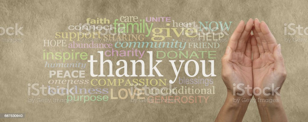 Fund Raising Campaign Website Header saying Thank You stock photo