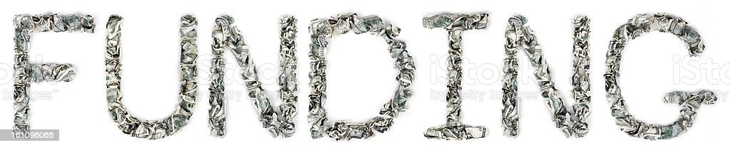 Funding - Crimped 100$ Bills royalty-free stock photo