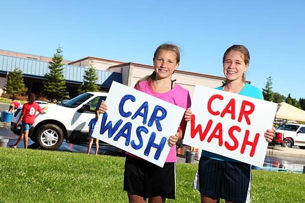 Fundraiser Car Wash stock photo