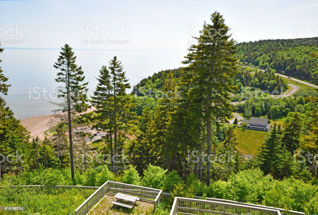 Fundy Trail Park (overlooking Big Salmon River and the Interpretive Centre) stock photo