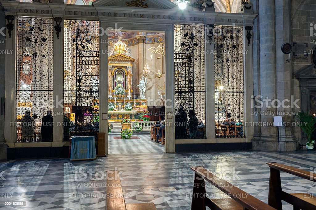 Funeral Ceremony In The Arezzo Cathedral stock photo