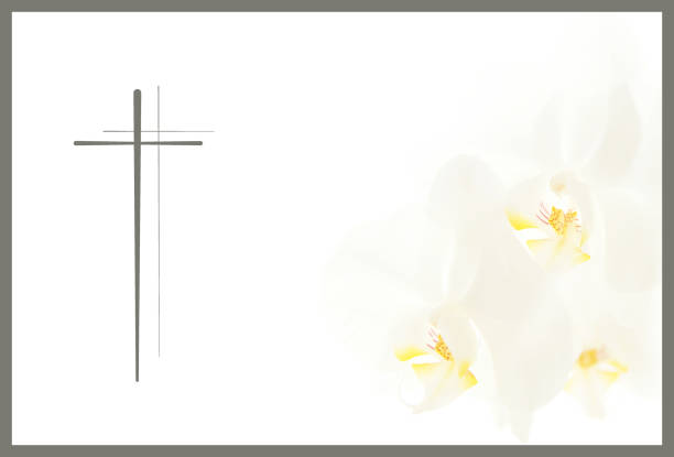 funeral flower Condolence card. frame with white Moon orchids and a cross. Close up of white orchids on light background. Empty place for a text. Appreciation, feelings compliment, mourning frame. stock photo