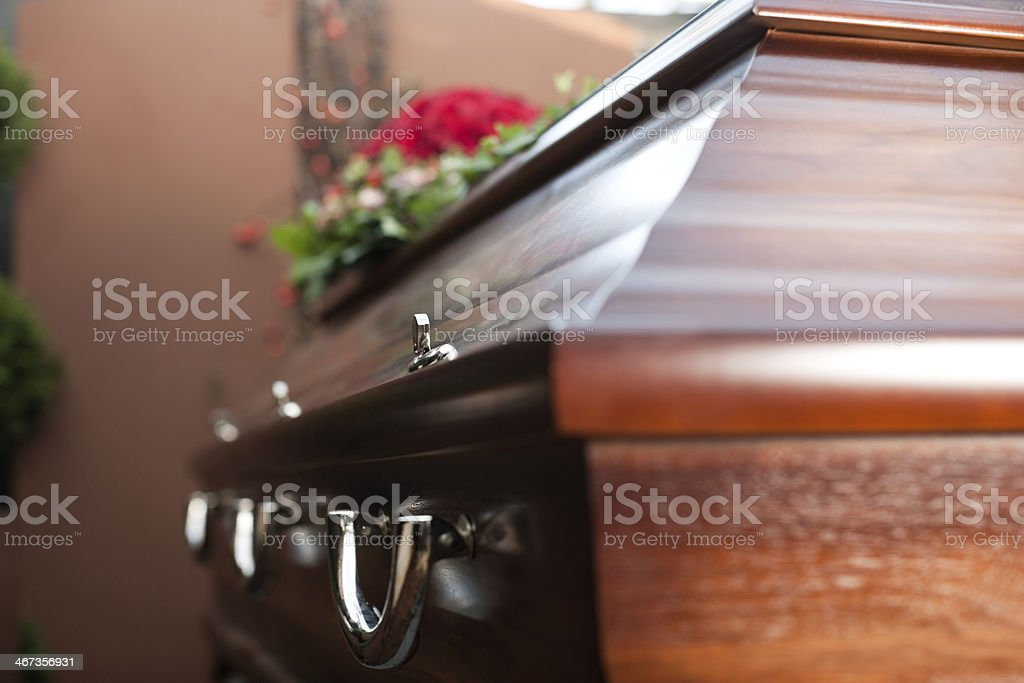 Funeral with coffin Religion, death and dolor  - funeral and cemetery; funeral with coffin Black Color Stock Photo