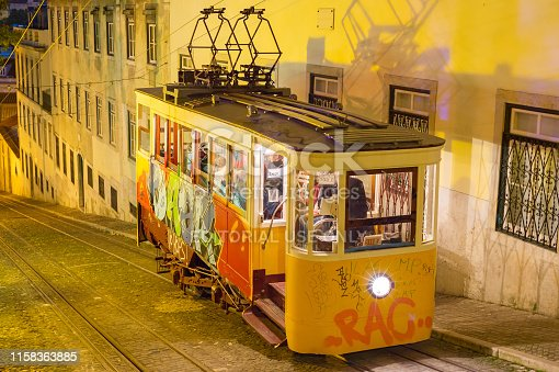 LISBON, PORTUGAL - DEC 11, 2017: View of funicular at night. Lisbon, Portugal