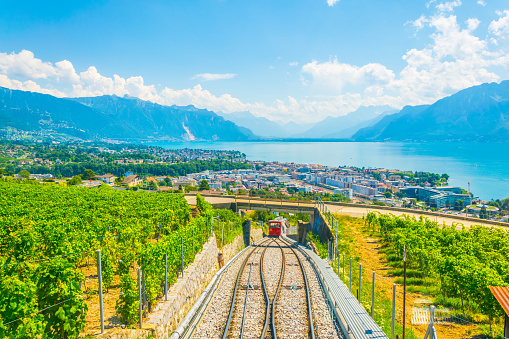 funicular at Vevey ascending to Mont Pelerin in Switzerland