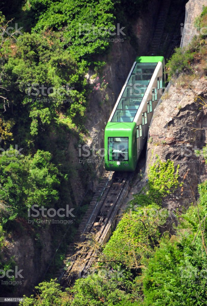Funicular cable railway - Monserrat, Catalonia, Spain stock photo