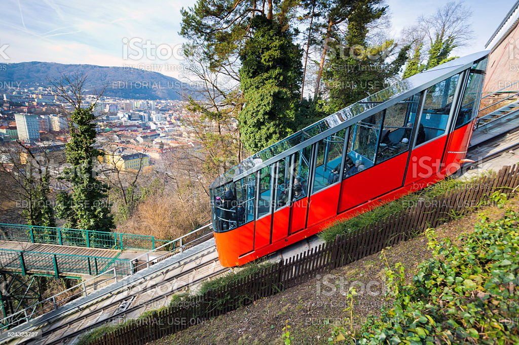 Funicular climbing to Schlossberg and Graz city panoramic view stock photo