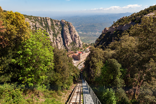 Funicular de Sant Joan road to Santa Maria de Montserrat abbey in Montserrat mountains