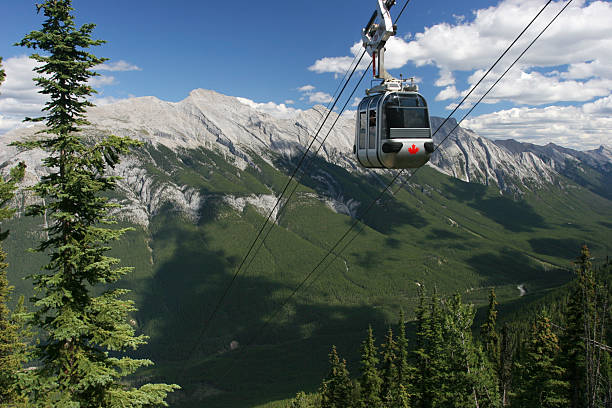 funicular in banff national park, canadian rockies - banff national park stock photos and pictures