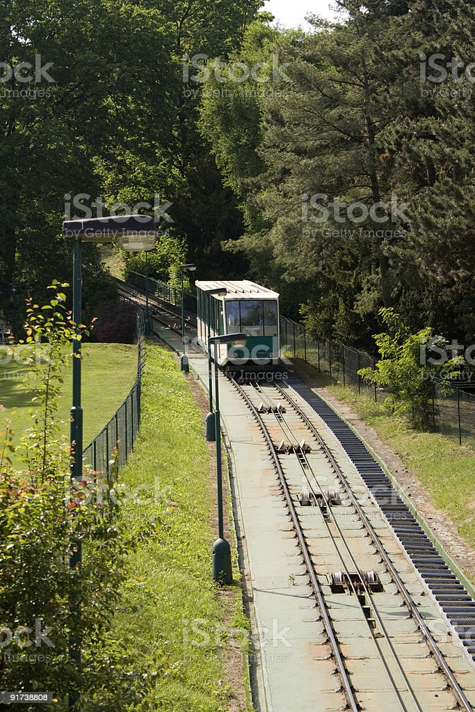 Funicular in Prague stock photo