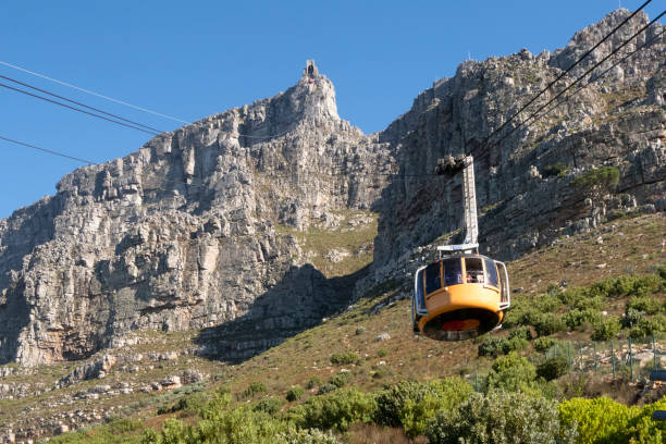 funicular in south africa cape town with view to  table mountain - table mountain south africa stock pictures, royalty-free photos & images