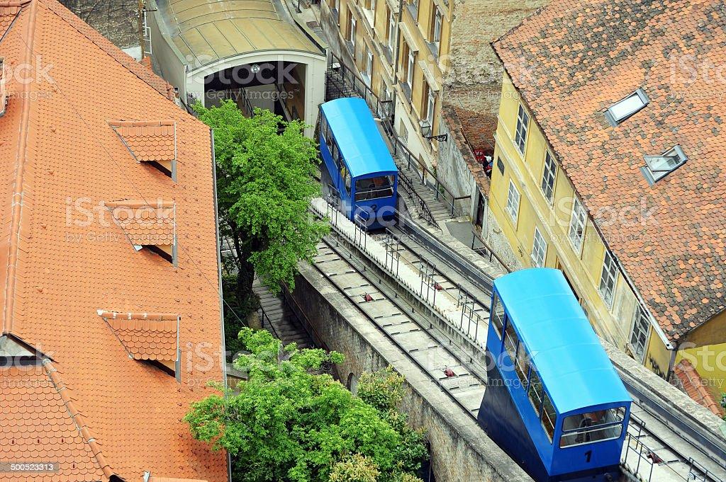 Funicular in Zagreb stock photo