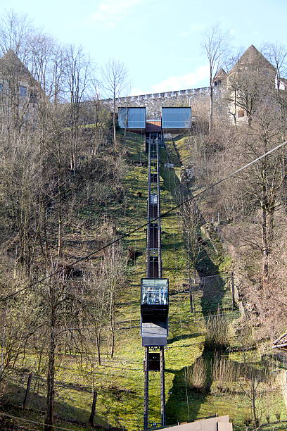 Funicular, Ljubljana Ljubljana, Slovenia-March 29, 2015:  A funicular with passengers travels up the hillside to Ljubljana Castle. ljubljana castle stock pictures, royalty-free photos & images