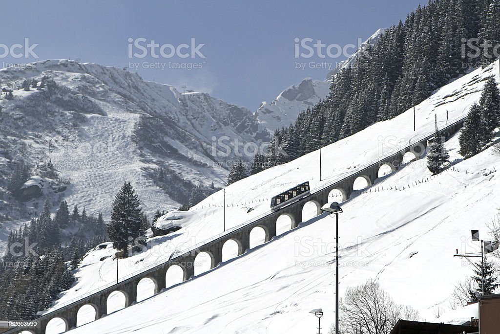 Funicular railway to the summit of Allmendhubel, Murren, Switzerland stock photo