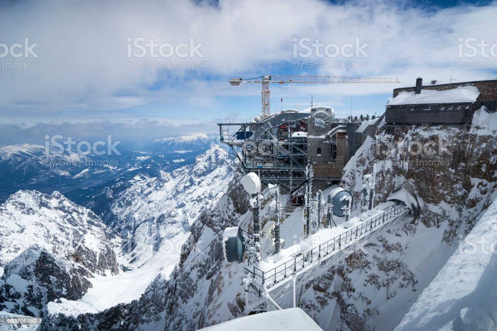 Funicular reconstruction on Zugspitze stock photo