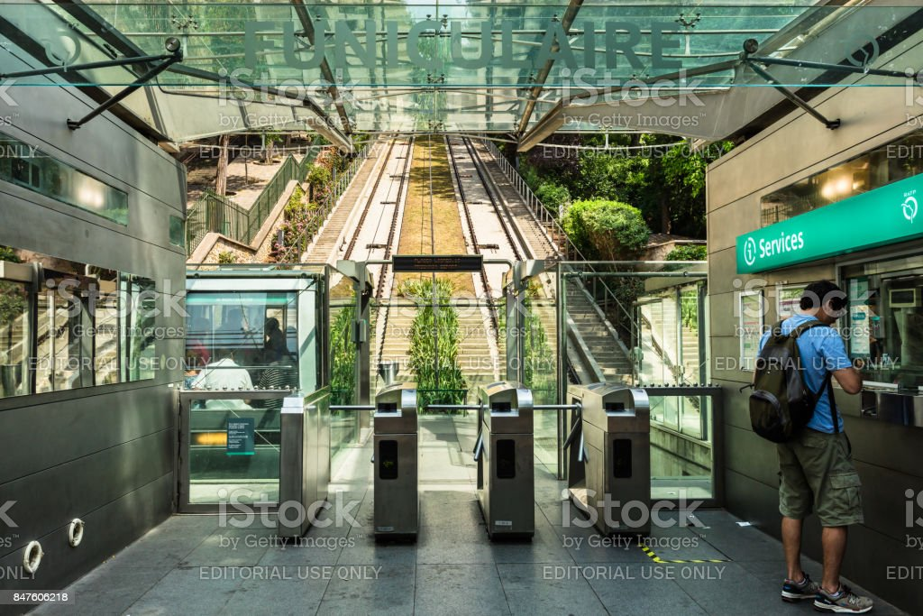 Funicular to Basilica Sacre Coeur on a hill Montmartre slope. Paris, France stock photo