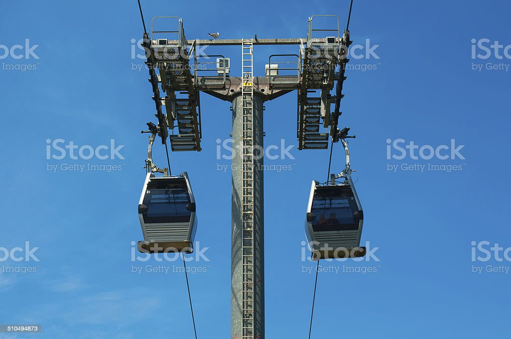 Funicular to mountain Montjuic at Barcelona stock photo