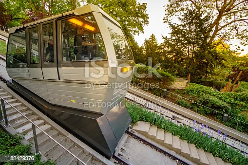 Paris, France - 10 May, 2018: Funicular to the famous Basilica of Sacre Coeur, dedicated to Sacred Heart of Jesus - a very popular place in Montmartre