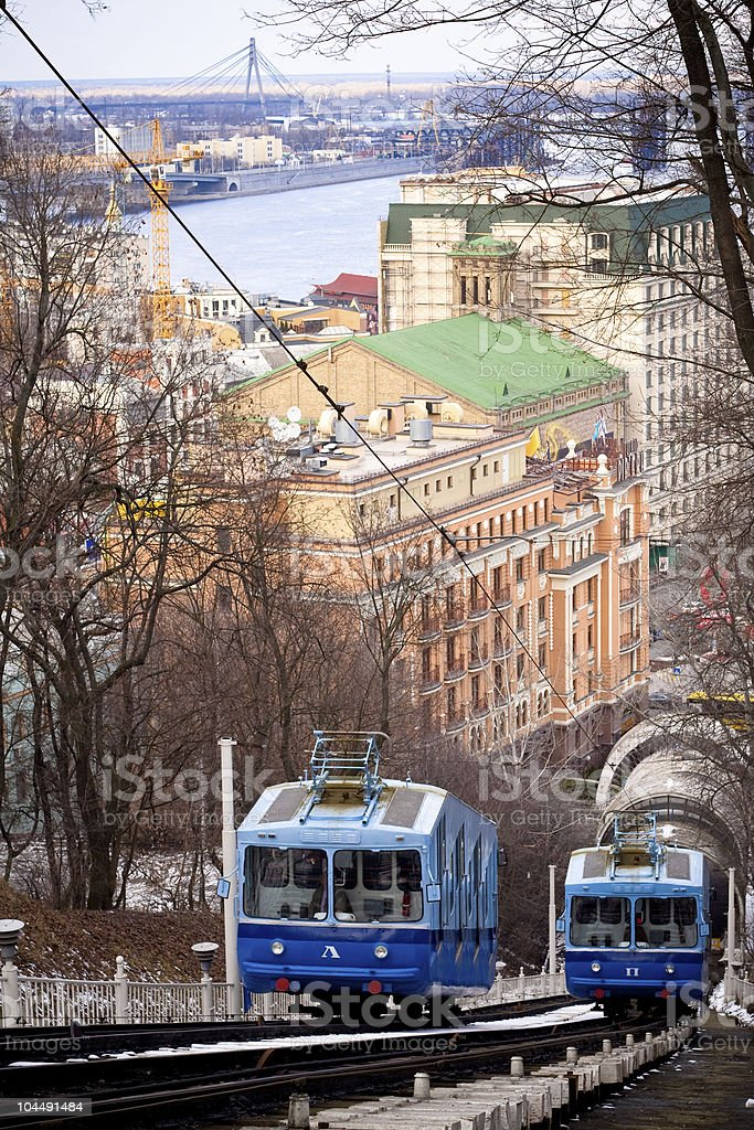 Funicular train in Kiev (Ukraine) royalty-free stock photo