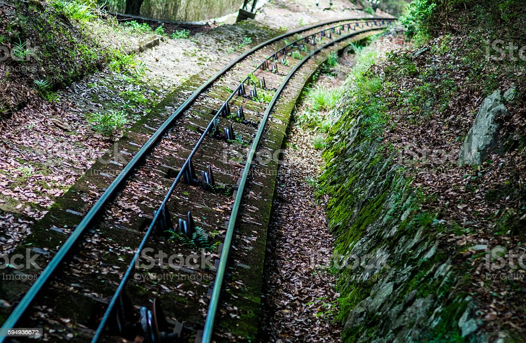 funicular train road,shiga,japan stock photo