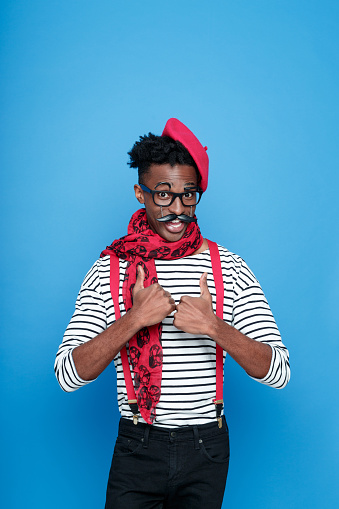 Funky Afro American Guy In A French Outfit Stock Photo - Download Image Now