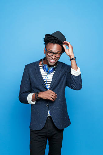 Funky Afro American Guy In Fashionable Outfit Stock Photo - Download Image Now