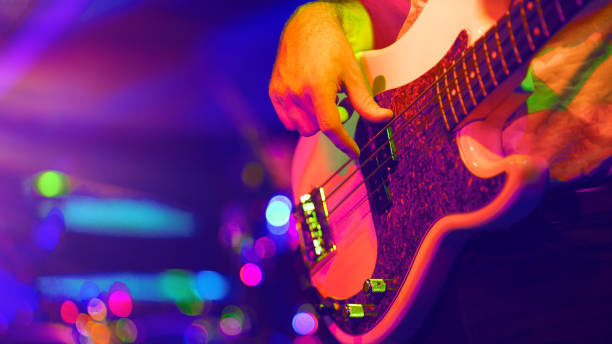 Funky bass player stock photo