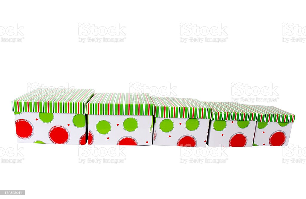 Funky Christmas Gift Boxes 2 with clipping path royalty-free stock photo