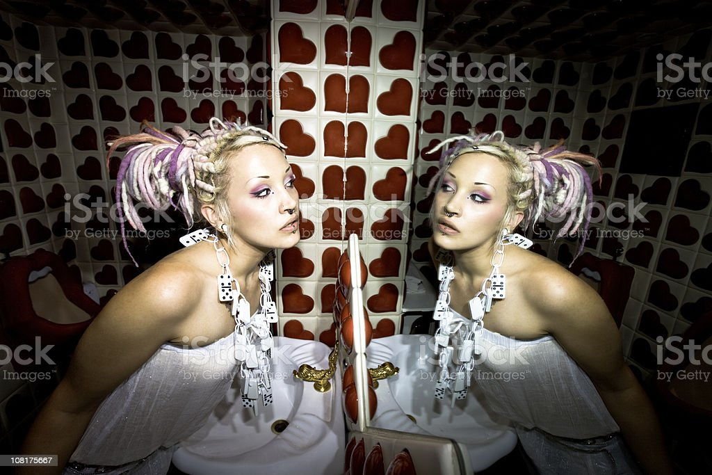 funky girl mirrored royalty-free stock photo