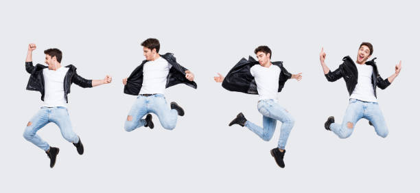 Funky joy concept. Collage picture of different pose of cheerful cool funny punk man expressing happiness jumping having fun yelling wearing casual clothes, isolated on white background full-length Funky joy concept. Collage picture of different pose of cheerful cool funny punk man expressing happiness jumping having fun yelling wearing casual clothes, isolated on white background full-length jump shot stock pictures, royalty-free photos & images