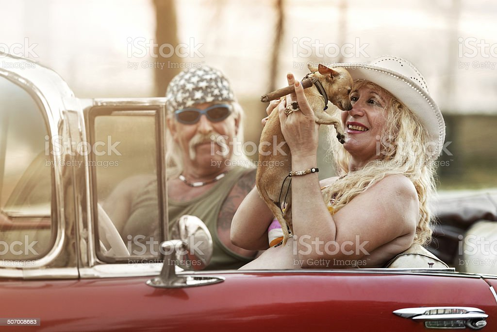 Funky Mature Couple in Cuba stock photo