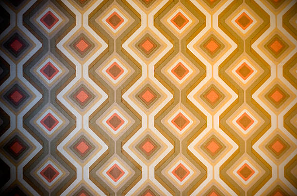 Funky retro 70s wallpaper stock photo