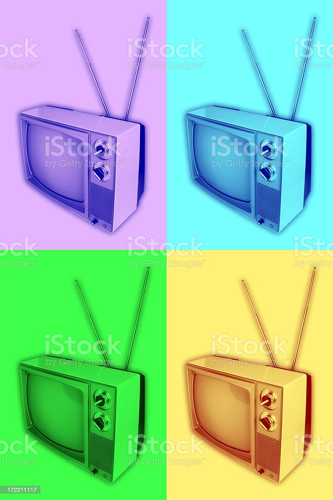 Funky Retro TV Valu-Pak royalty-free stock photo