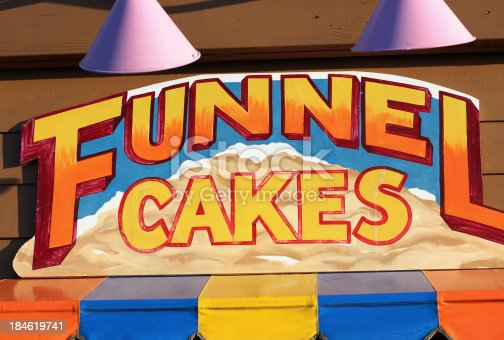 Hand painted store sign advertises funnel cakes in Keemah, Texas.