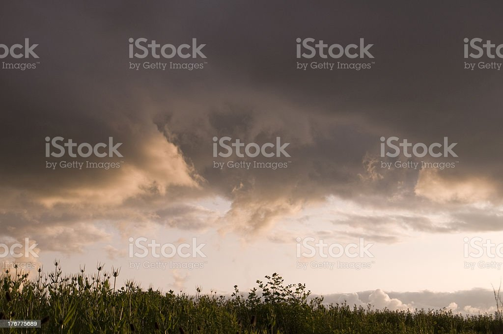 Funnel Clouds Over Farm Fields royalty-free stock photo
