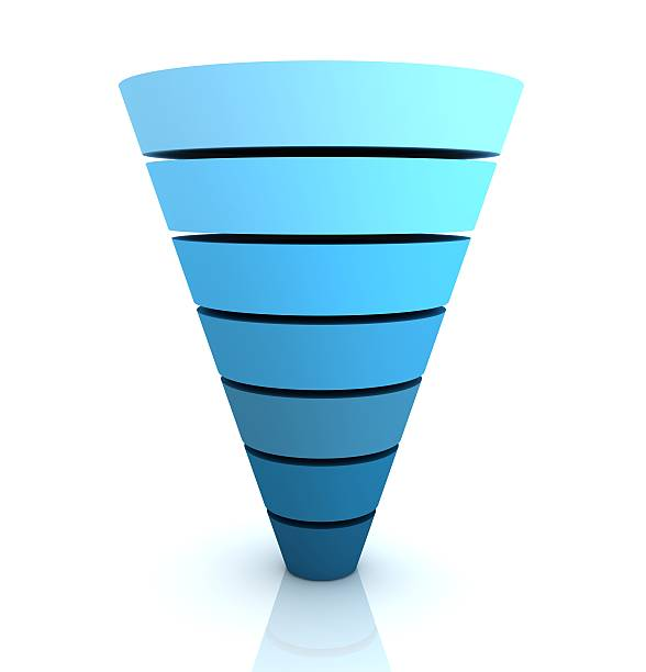 funnel graph - sales funnel stock photos and pictures