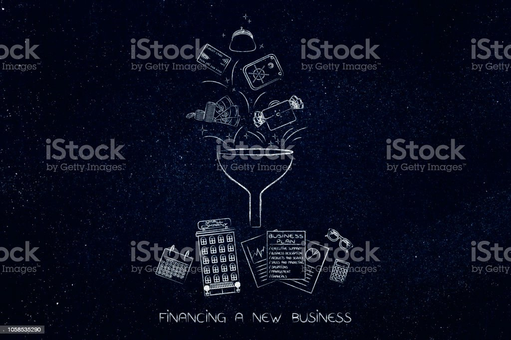 funnel processing different method of payments into company building, documents and calendar stock photo